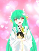 ますたぁのぬいぐるみをもらってご満悦の清姫を描いてみた(第二再臨バージョン)