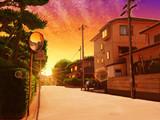 黄昏の住宅街