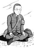 玉音放送を聴き皇居広場の玉砂利の上で呆然とする泉南から来た青少年勤労報国隊員