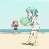 砂浜が熱くて足ぶみする茜
