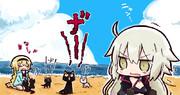 カラスがうたい…うたい~……黒猫が ニャンとなくわ