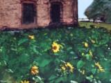 向日葵と洋館
