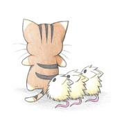 ひっつき虫にゃんこを見るネズミ達