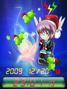 ◆長門ちゃんとキミドリさん待受Flash時計クリスマスバージョン