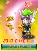 ◆長門ちゃんとキミドリさん待受Flash時計2010年バージョン