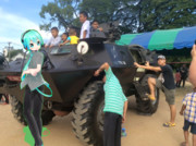 Mikuo Crossing Arms Stand Still On The Army Tank