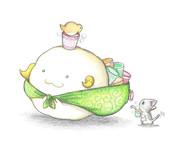 カップ麺を運ぶヒツジ