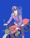 バイクに乗るショッピ君
