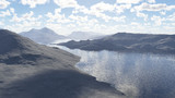 【商用可能】山から見た湖【動画支援】