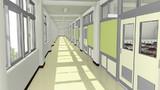 【フリー背景素材】学校の廊下