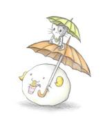 日傘を差すヒツジとにゃんこ