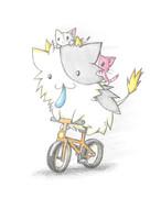 自転車に乗る牛ちゃん