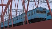 103系、鉄橋を通過中。
