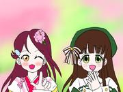 桜色と緑色の癒しのロングヘア