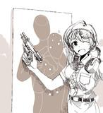 ハワイで実弾射撃を満喫する桜守歌織さん。