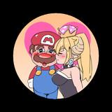 マリオとクッパ姫は幸せなキスをしてマリオRPGは終了