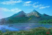 桧原湖と磐梯山