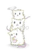 三段に重なるネズミ達