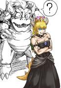 クッパ姫に困惑するクッパ大王