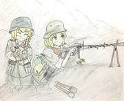 塹壕で警戒する謎のエルフ姉貴