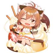 お菓子作っている橙ちゃん(デフォルメ)