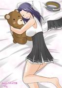 ぬいぐるみを抱いて寝る龍田さん