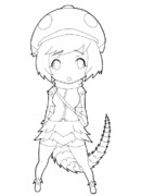 アルマジロトカゲのフレンズちゃん描いてみた。(オリフレ)【下絵】