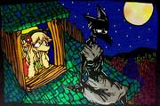 切り絵「魔女と石像」 オリキャラ アナログ