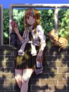 制服ギャラ子さんwithにゃんこ。
