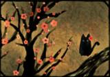 紅白梅図猫風