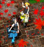 秋色の小路で…<黒潮と舞風>【MMD艦これ+モーターフォトギャラリー】