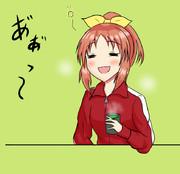 お茶を飲んでほっこりするウサミン(17)