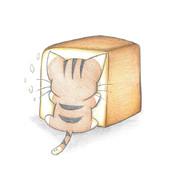 食パンにひっつくひっつき虫にゃんこ