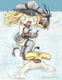 提督とスノーボードをするビスマルク