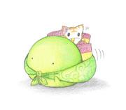 ポテチを運ぶカエル