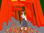【ドット絵】セーラー服モミジと秋の神社で