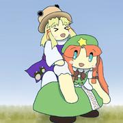 諏訪子と遊ぶ美鈴