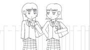 女学生二人(未彩色)