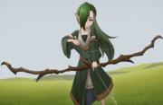 緑髪片目隠れポニーテールロリ弓エルフ