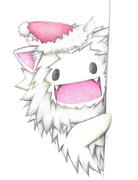 覗くホワイトライオンサンタ
