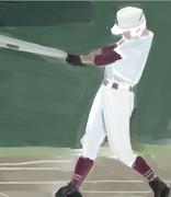 高校野球(水彩画)