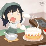 この朝潮、ケーキ作りにも全力で挑む覚悟です!
