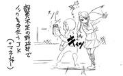 【らくがき】部員不足の野球部でノックを手伝うJK。