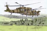 ヘリコプターから懸垂下降する隊員(陸上自衞隊「富士綜合火力演習」の豫行)