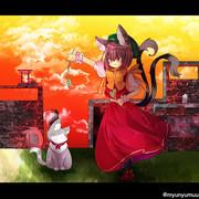 夕焼けと猫と猫