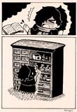 本で指を切るリヨ蔵さん