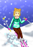 雪の降るゲレンデ