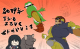 【描き始め】某大乱闘に熱中する朝潮ちゃんと猪