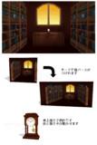 置時計と書斎【MMDステージ配布】