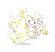 ネコ用ドーナツを取り合うにゃんこ